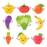 Healty food cartoon representing icons set. Healty food cartoon representing some funny vegetables Royalty Free Stock Photos