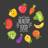 Healty food cartoon representing. Some funny vegetables Stock Image