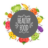Healty food cartoon representing. Some funny vegetables Royalty Free Stock Photography