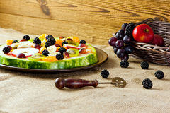 Healty fruit pizza Stock Photography