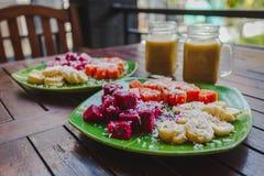 Healty fruktfrukost arkivfoto