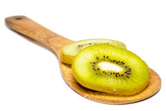 Healty Kiwi Fruit Slices on wooden ladle isolated Royalty Free Stock Photo