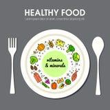 Healty-Lebensmittel-Hintergrunddarstellung Stockfotos