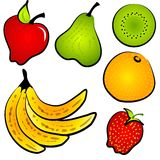 Healty Nahrungsmittelfrucht-Klipp-Kunst Stockbilder