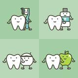 Healty tooth and best friends toothbrush, toothpaste, mouthwash, floss and apple, dental care and hygiene concept. Teeth cartoon vector flat style cute Royalty Free Stock Image