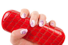 Heand with pink pastel manicure Royalty Free Stock Images
