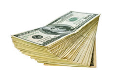 Heap of 100 dollar banknotes. Heap of one hundred dollar banknotes isolated on white background Stock Photography