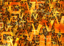Heap of abstract chaotic orange alphabet letters Royalty Free Stock Photos