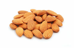 Heap of almond. On the white background Royalty Free Stock Photo