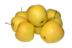 Heap of apples Golden delicious on white Royalty Free Stock Photography