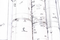 Heap of architect design and project drawings Stock Photo