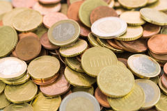 Heap of assorted Euro coins Royalty Free Stock Photography