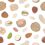 Heap of assorted nuts. Seamless hand drawn pattern Stock Photography
