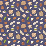 Heap of assorted nuts. Seamless hand drawn vector pattern Stock Photos