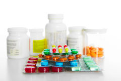 Heap of assorted pill packages Royalty Free Stock Photo