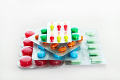 Heap of assorted pill packages Stock Images