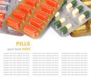 Heap of assorted pill packages on white background Royalty Free Stock Photography