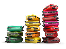 Heap of baggage.Travel or tourism development concept. Grouth of Royalty Free Stock Images