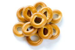 Heap of baked dry bagels on white background Royalty Free Stock Images