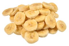 Heap of banana slices on a white Royalty Free Stock Image