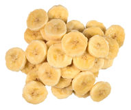 Heap of banana slices on a white Royalty Free Stock Photos