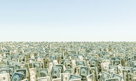 Heap of banknote Dollar Bills grass. On the background blue sky. 3d render illustration Stock Photography