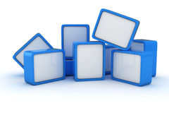Heap of banners. Heap of blue and white cubes on the white background royalty free illustration