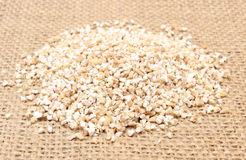 Heap of barley groats on jute canvas Stock Photos