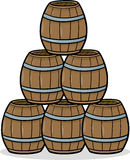 Heap of barrels cartoon illustration Royalty Free Stock Photography