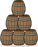 Heap of barrels cartoon illustration Royalty Free Stock Photography