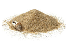 Heap of beach sand. On white background royalty free stock image