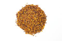Heap of bee pollen on white background. bee product. Healthy food concept. top view, above, over head royalty free stock image