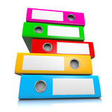 Heap of Binders. Heap of Colorful Binders on White Background 3D Illustration, Workload Concept royalty free illustration