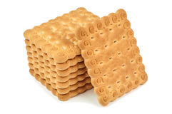 Heap of biscuits. (cookies) on white background stock images