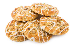 Heap of biscuits with sesame seeds and sunflower seeds Royalty Free Stock Photo