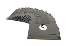 Heap of black floppy disks Royalty Free Stock Images
