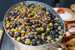 Heap of black and green Olive Stock Photo
