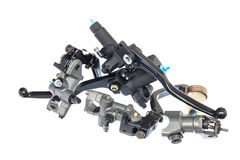 A heap of black motorcycle lever Stock Photo