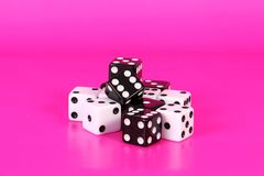 Black and white dices in the pink studio royalty free stock photo