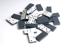 Heap of black and white dominos Stock Image