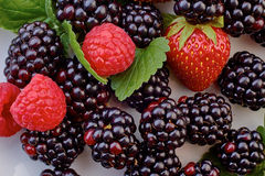Heap of blackberries, strawberries and raspberries with mint leaves. Closeup Royalty Free Stock Images