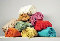 Heap of blankets royalty free stock photos