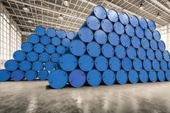 Heap of blue barrels Stock Photos