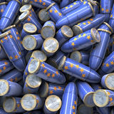 Heap of blue European Bullets Royalty Free Stock Photography