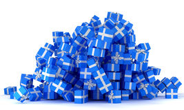 Heap of blue gift boxes Royalty Free Stock Photos