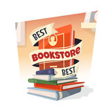 Heap of books with Best Bookstore text. Vector illustration Royalty Free Stock Photography