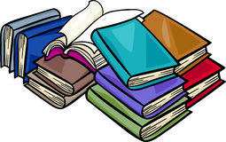Heap of books cartoon illustration Royalty Free Stock Photos