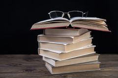 Heap of books and glasses. Stock Photography