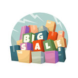 Heap of boxes with Big Sale text. Vector illustration royalty free illustration