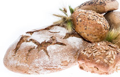 Heap of bread on white background Royalty Free Stock Photo